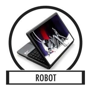 Laptop sticker, Notebook sticker - Robot