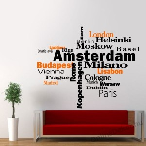 Wall sticker, Wall tattoo, Wall decoration, Wall decal - Name, Texts - City names 2010