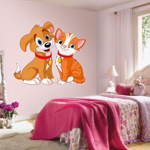 Wall sticker, Wall tattoo, Wall decoration, Wall decal - Children's room - 04.Printed wall sticker (No colour) - Dog and Cat 213