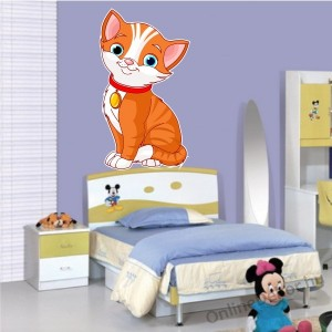 Wall sticker, Wall tattoo, Wall decoration, Wall decal - Children's room - 04.Printed wall sticker (No colour) - Cat 2138