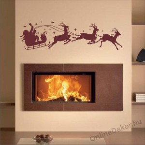 Wall sticker, Wall tattoo, Wall decoration, Wall decal - Ünnepek - Santa Claus with  sleigh 2321