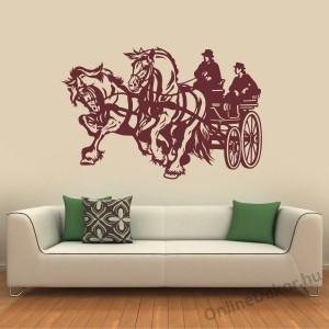 Wall sticker, Wall tattoo, Wall decoration, Wall decal - Animal - Horses with chariot 2322